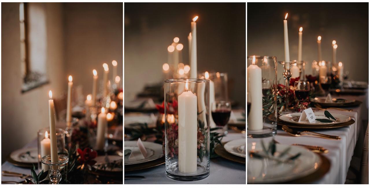 Candles at winter wedding at Launcells Barton